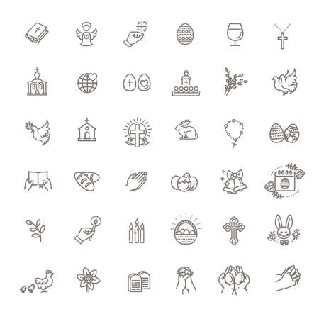 Easter icons set. Christianity vector symbols 向量圖像