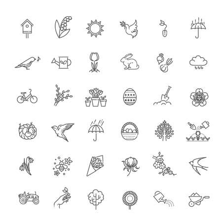 Spring Nature Vector Thin Line Icons 向量圖像