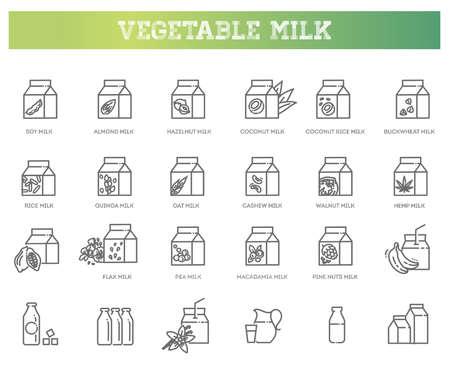Alternative milk, vegan milk, vegetable milk simple thin line icon set vector illustration. Contains icons : soya, coconut, almond, walnut, cashew, rice, oat, hazelnut milk.