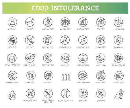 Allergen ingredients vector icons. Product free allergen ingredient symbols Ilustrace