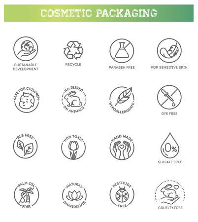 Natural organic cosmetics, vegan food symbols. Thin signs for packaging