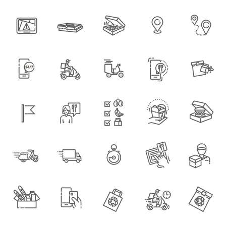 Set of Food Delivery Vector Line Icons 向量圖像