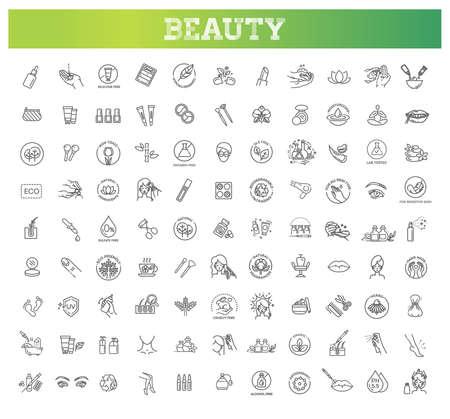 Beauty vector outline icons set. Beauty treatment Vecteurs