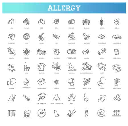 Vector set line icons of allergy. Food and Pollen Vettoriali