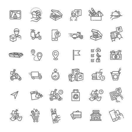 Set of Food Delivery Vector Line Icons