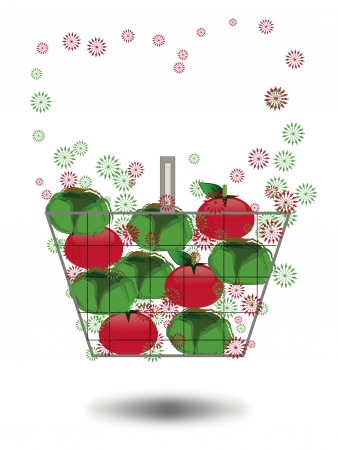 sopping: shopping cart with tomatoes and vegetables Illustration