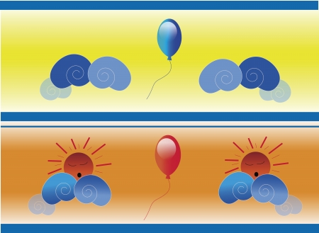 antioxidant: Colored wall paper with balloons and clouds