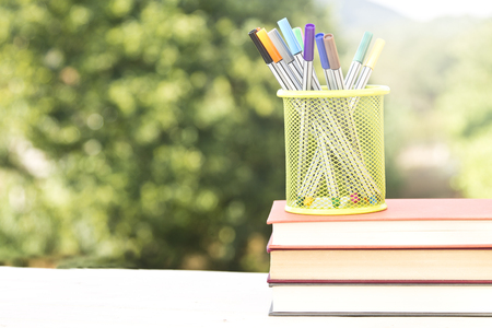 concept back to school accessories on green background Stock Photo