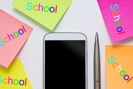 concept back to school and mobile phone Stock Photo