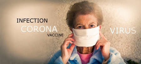 portrait of older woman with medical mask. Safety in public places during coronavirus outbreak.