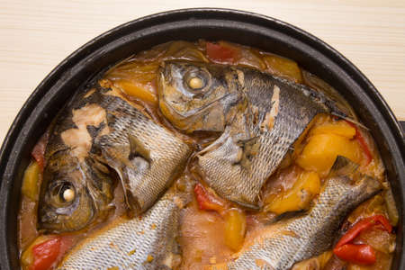 fish casserole with potatoes and peppers
