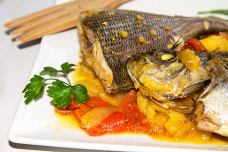 fish stew with potatoes and red peppers
