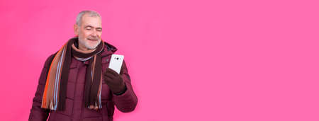 man using mobile phone isolated
