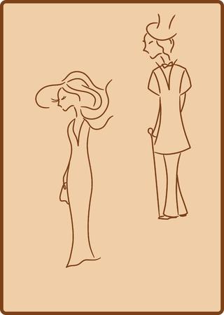 toilet paper art: Lady and gentleman.  Illustration