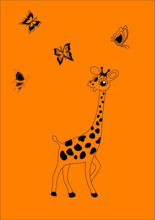 Cheerful giraffe and butterflies.  Vector