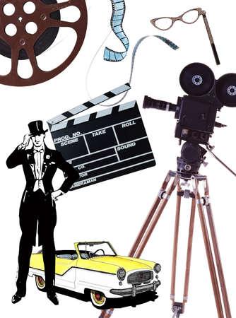 cinematic: rotro movie background Stock Photo