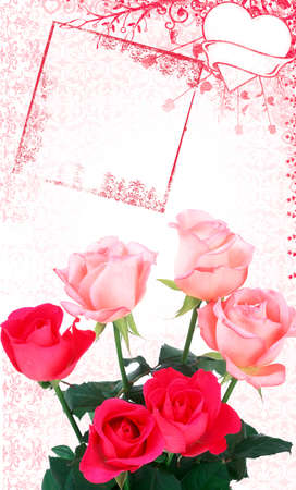 celebration background with hearts and roses photo