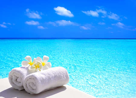 beach towel: tropical holidays Stock Photo