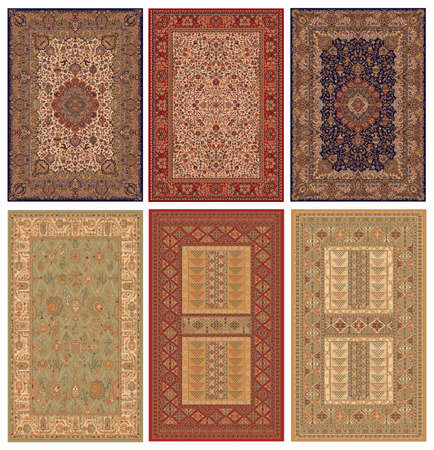 woven surface: six persian carpets (high resolution) Stock Photo