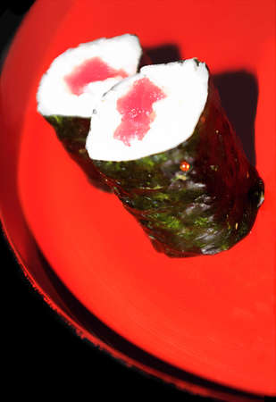 two sushi rolls photo