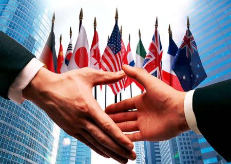 banderas del mundo: concepto de negocio internacional