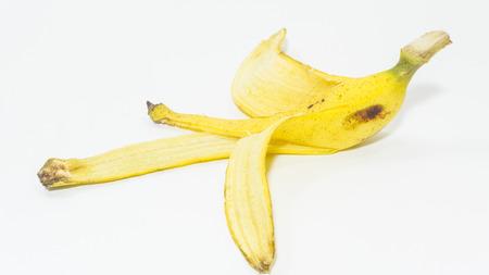 pitfall: peeled banana on white background Stock Photo
