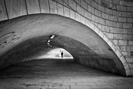 1 person: Dark Tunnel in Berlin with 1 person