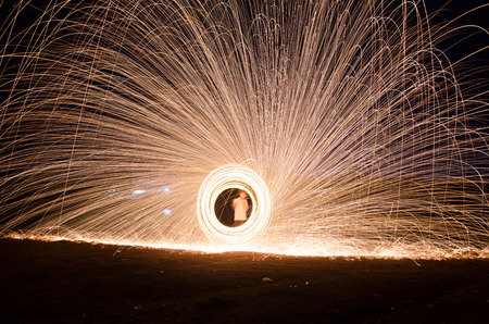 steel wool: Hot sparks from spinning steel wool.