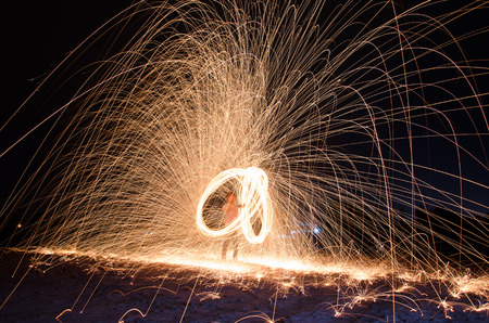 Hot sparks from spinning steel wool. photo