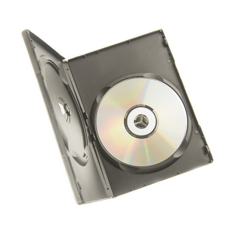 rewrite: Black box with DVD disc isolate on white background.