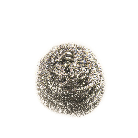 scouring: Steel wool pad isolated on white background.