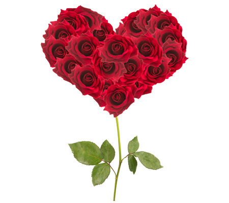 バレンタインデー ハートは白い背景で隔離赤いバラから作られて。