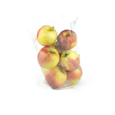 manzana: Apple con la deformaci�n pl�stica en el fondo blanco Foto de archivo