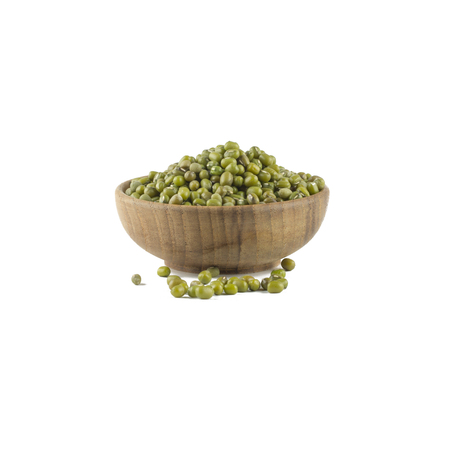 mung bean sprout: Mung beans in wood bowl isolated on white background Stock Photo