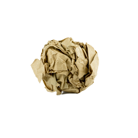 creasy: crumpled  brown paper ball isolated