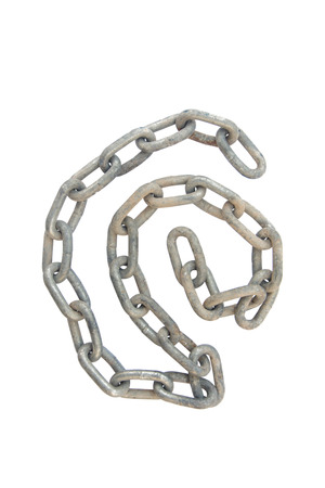 no entrance: Old chain isolated on white background Stock Photo