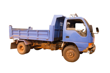 dumptruck: Dump truck - blue isolated on white