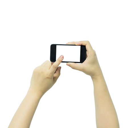 big screen: Two hands holding big screen smart phone