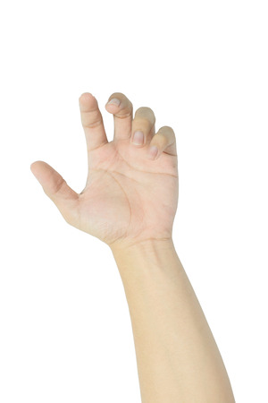 interdigital: human hand isolated on white Stock Photo