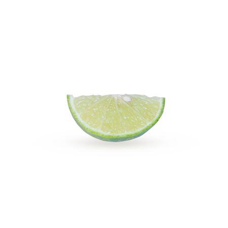 segmentar: Citrus segmento de fruta de la cal aislada en el fondo blanco Foto de archivo