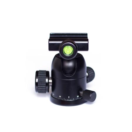 tiny lenses: photographic tripod head ballhead Stock Photo