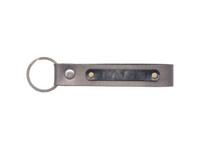 bibelot: Leather key chain isolated on white background