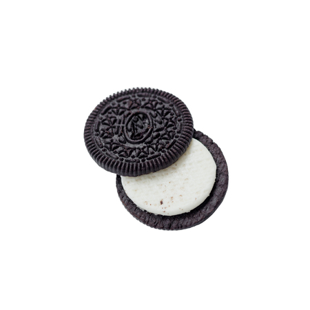 Chocolate cookies with creme filing isolated on white
