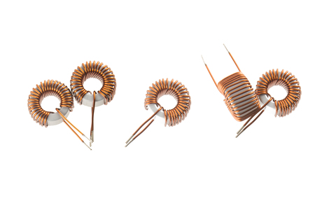 Inductor Copper coils isolated on white background Stock Photo