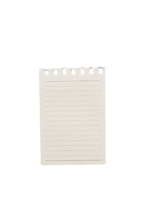 torn notepaper page isolated on white  background.
