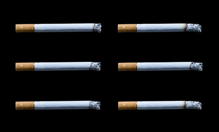 collection cigarette with ashes isolated on black background Stock Photo