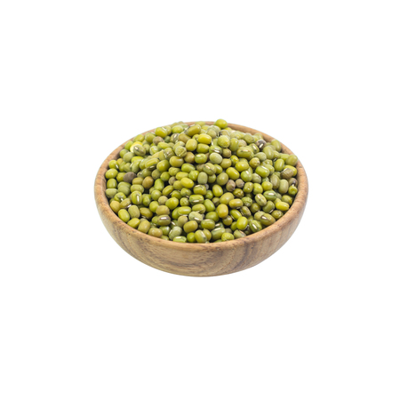 Mung beans in wood bowl isolated on white background Stock Photo