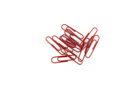 colorful paper clips isolated in white background Stock Photo
