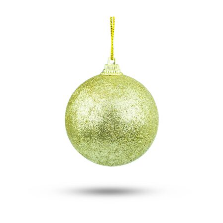 christmas ball glitter (christmas ornament )gold color. Isolated over white.