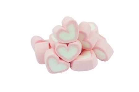Guimauves en forme de coeur rose isolés sur blanc Banque d'images - 71870336